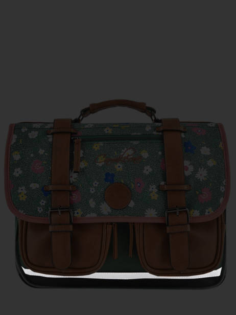 Satchel For Girls 3 Compartments Cameleon Green vintage print girl VIG-CA41 other view 7