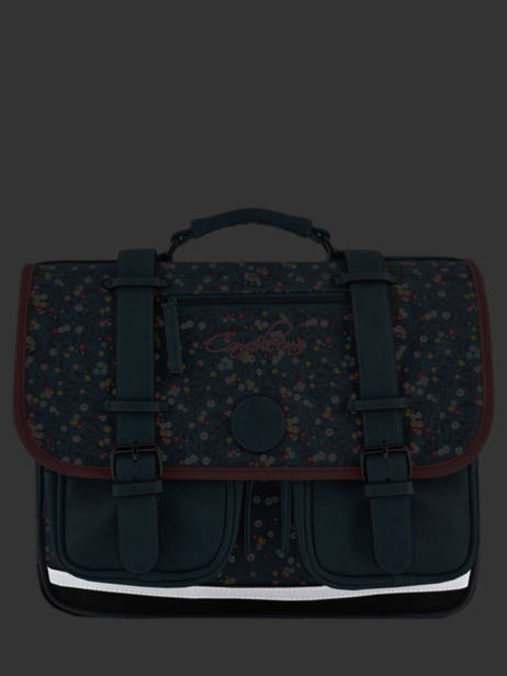 Satchel For Girls 3 Compartments Cameleon Blue vintage print girl VIG-CA41 other view 7
