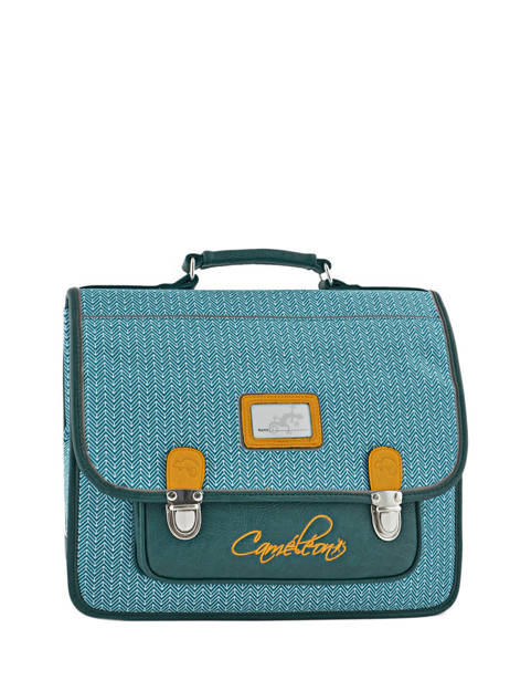 Cartable 2 Compartiments Cameleon Bleu retro PBRECA35