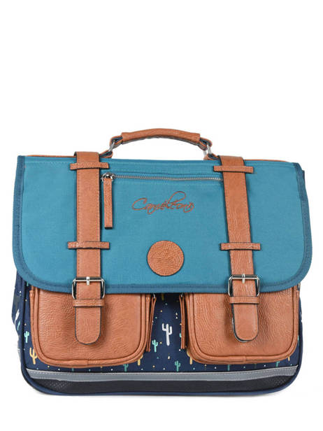 Satchel For Boys 2 Compartments Cameleon Blue vintage print boy VIB-CA38