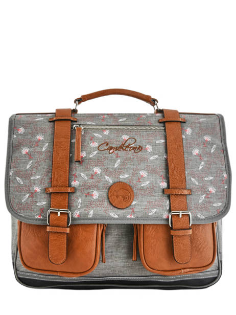 Wheeled Schoolbag For Girls 3 Compartments Cameleon Gray vintage print girl PBVGCA41