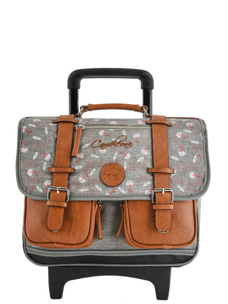 Schoolbag On Wheels For Kids 2 Compartments Cameleon Gray vintage print girl PBVGCR38