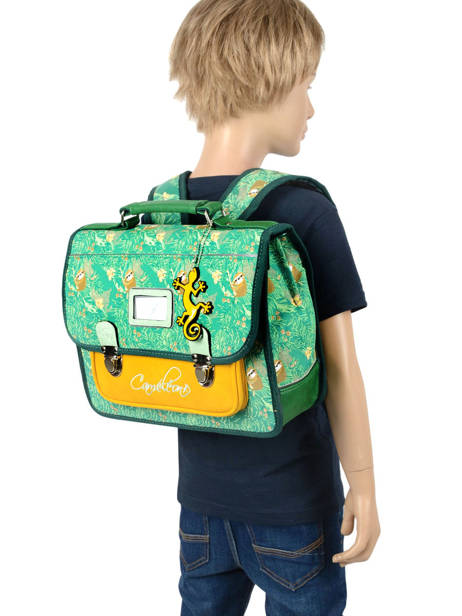 Satchel For Kids 1 Compartment Cameleon Green retro RET-CA32 other view 3