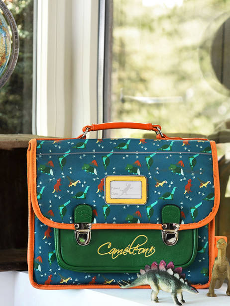 Satchel For Kids 2 Compartments Cameleon Blue retro RET-CA35 other view 4