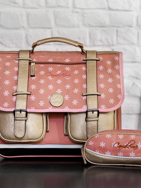 Satchel For Girl 2 Compartments Cameleon Gray vintage print girl VIG-CA38 other view 4