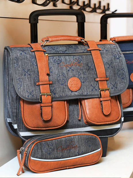 Wheeled Schoolbag For Boys 2 Compartments Cameleon Blue vintage print boy VIB-CR38 other view 3