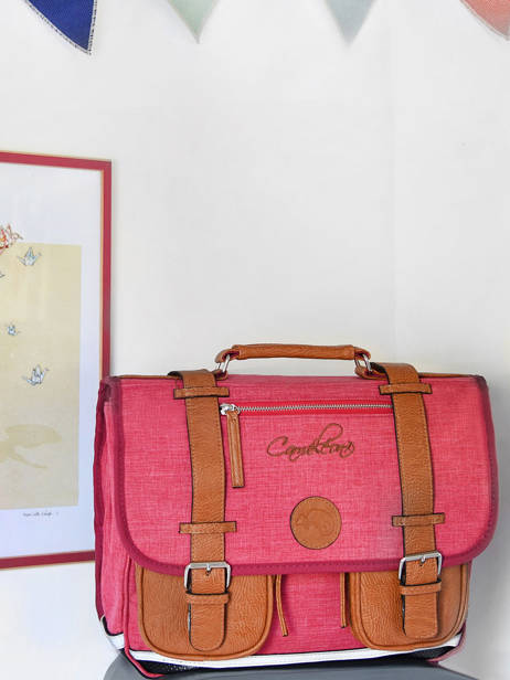 Satchel For Kids 3 Compartments Cameleon Yellow vintage chine VIN-CA41 other view 3