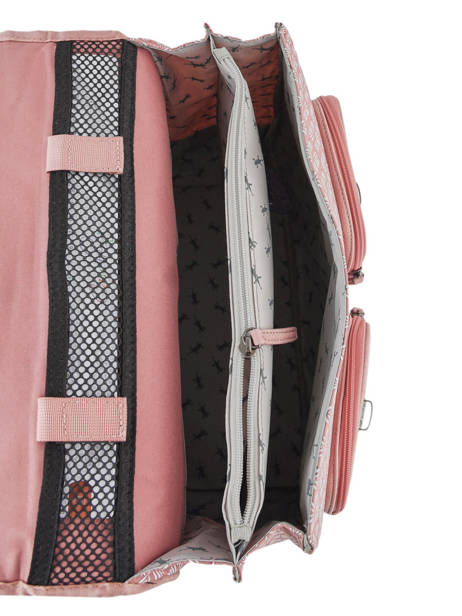 Satchel For Girls 2 Compartments Cameleon Pink vintage print girl VIG-CA35 other view 5