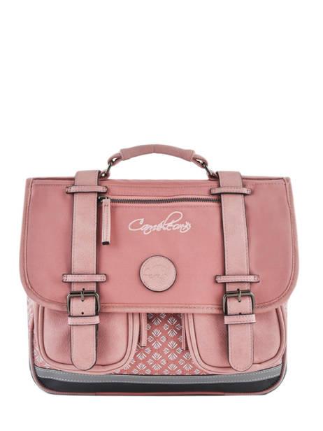 Satchel For Girls 2 Compartments Cameleon Pink vintage print girl VIG-CA35