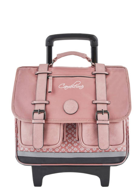 Cartable à Roulettes Fille 2 Compartiments Cameleon Rose vintage print girl VIG-CR38