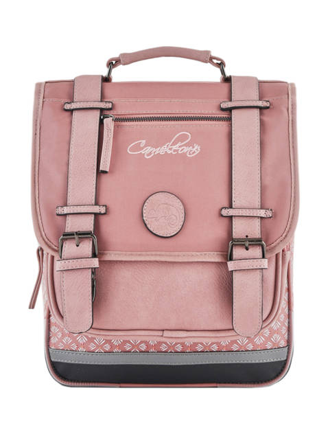 Backpack For Girls 2 Compartments Cameleon Pink vintage print girl VIG-SD38