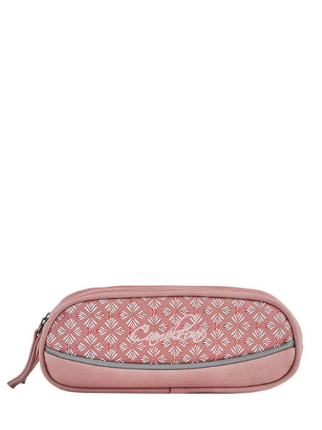 Pencil Case For Girls 2 Compartments Cameleon Pink vintage print girl VIG-TROU