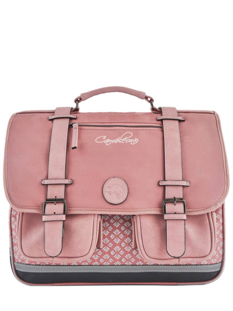 Satchel For Girls 3 Compartments Cameleon Pink vintage print girl VIG-CA41