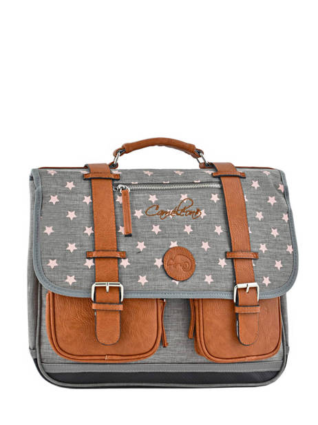 Satchel For Girl 2 Compartments Cameleon Gray vintage print girl VIG-CA38