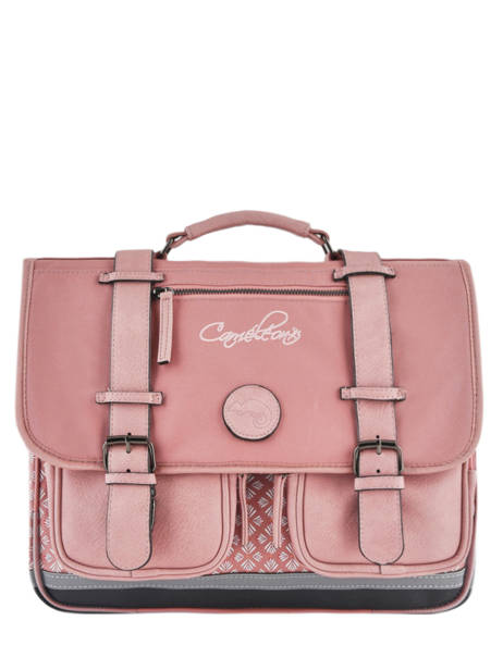 Satchel For Girl 2 Compartments Cameleon Pink vintage print girl VIG-CA38