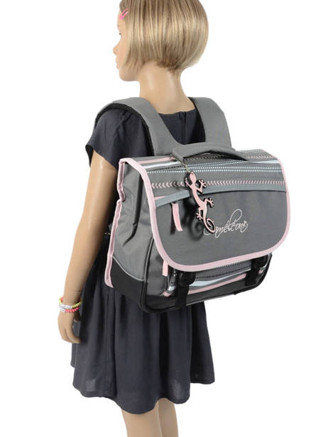 Satchel 2 Compartments Cameleon Gray actual PBBACA35 other view 3