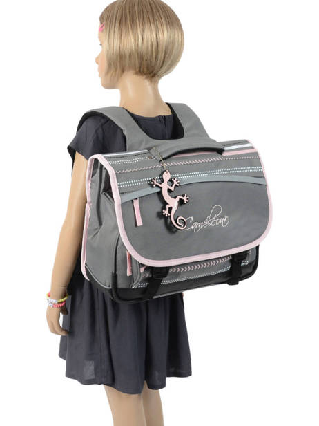 Satchel 2 Compartments Cameleon Gray actual PBBACA38 other view 3