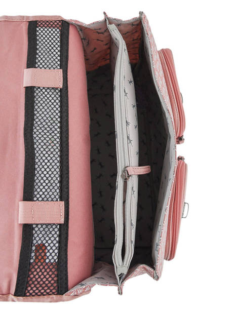 Wheeled Schoolbag For Girls 2 Compartments Cameleon Pink vintage fantasy PBVGCA35 other view 5