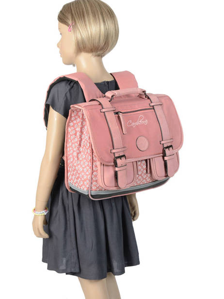 Wheeled Schoolbag For Girls 2 Compartments Cameleon Pink vintage fantasy PBVGCA35 other view 3