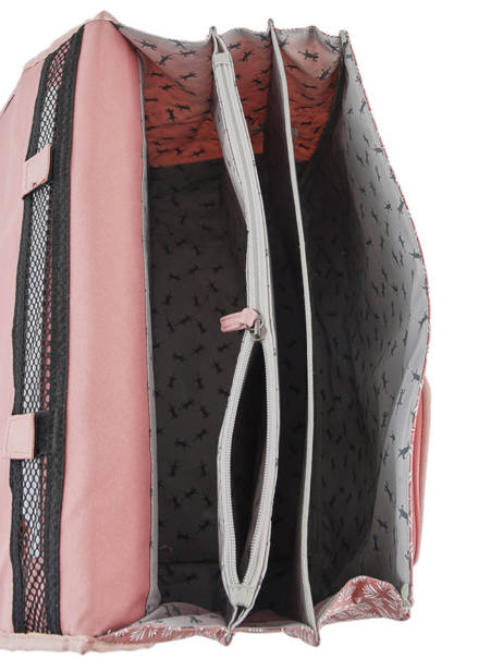 Wheeled Schoolbag For Girls 3 Compartments Cameleon Pink vintage fantasy PBVGCA41 other view 5