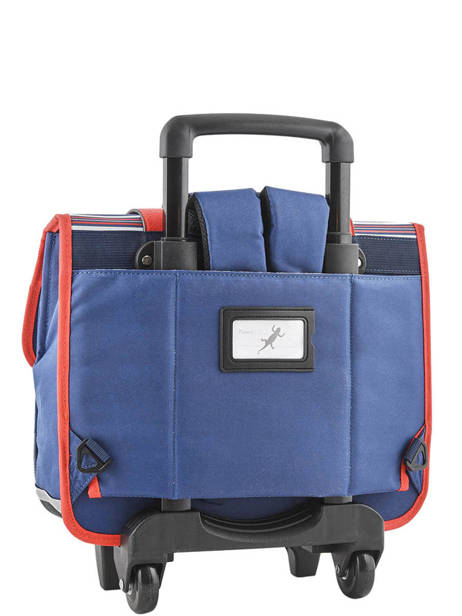 Wheeled Schoolbag 2 Compartments Cameleon Blue vintage urban PBVBCR38 other view 3