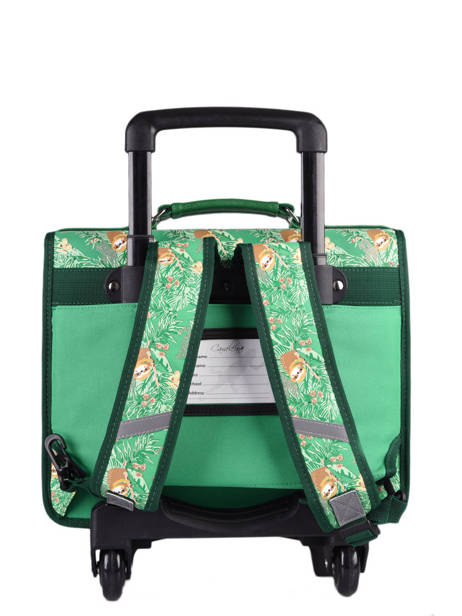 Cartable A Roulettes Cameleon Green retro PBRECR35 other view 3