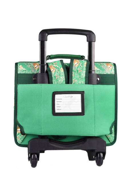 Cartable A Roulettes Cameleon Green retro PBRECR35 other view 4