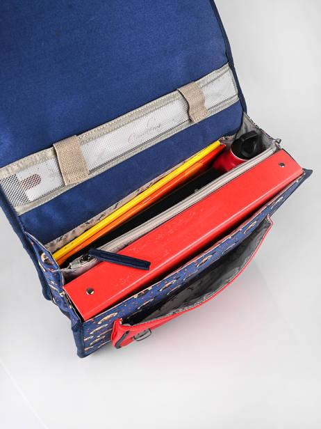 Boekentas Kind 2 Compartimenten Cameleon Blauw retro CA35 ander zicht 6