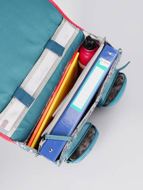 Boekentas Meisje 2 Compartimenten Cameleon Blauw vintage fantasy CA35 ander zicht 5