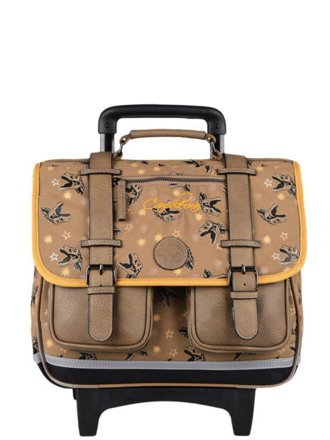 Wheeled Schoolbag For Boys 2 Compartments Cameleon Yellow vintage urban CR38