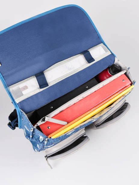 Boekentas Jongen 2 Compartimenten Cameleon Blauw vintage urban CA38 ander zicht 5