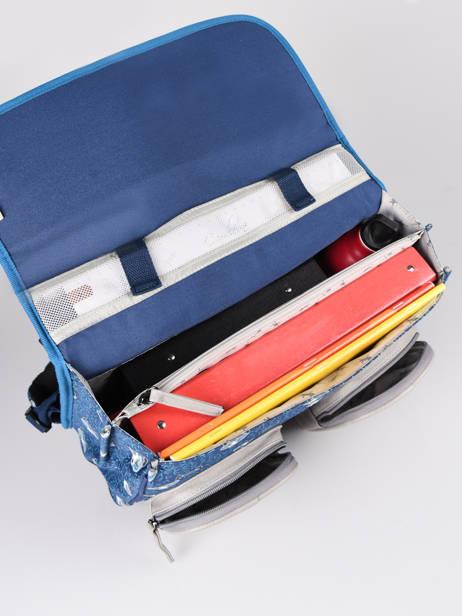 Boekentas Jongen 2 Compartimenten Cameleon Blauw vintage urban CA35 ander zicht 5