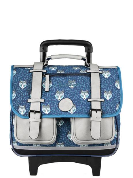 Cartable à Roulettes Enfant 2 Compartiments Cameleon Bleu vintage urban CR38