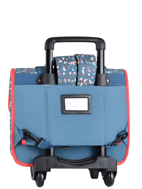 Wheeled Schoolbag For Girls 2 Compartments Cameleon Blue vintage fantasy CR38 other view 7