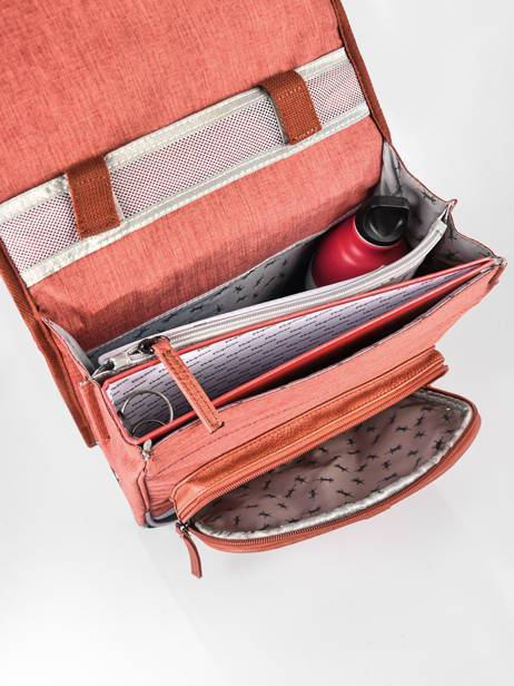 Backpack 2 Compartments Cameleon Red vintage color VIC-SD38 other view 5