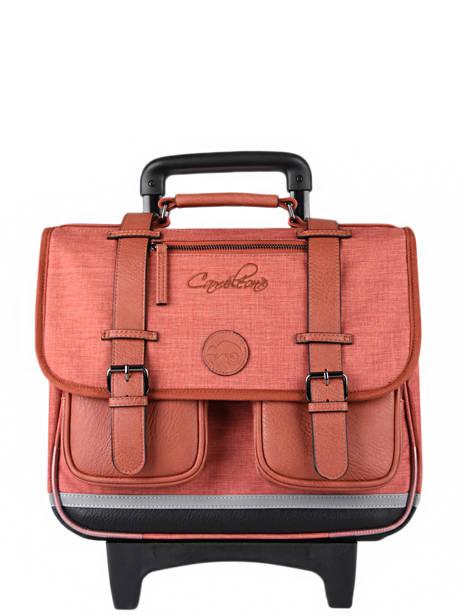 Cartable à Roulettes 3 Compartiments Cameleon Rouge vintage color CR38