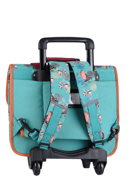Wheeled Schoolbag For Girls 2 Compartments Cameleon Green vintage fantasy CR38 other view 8