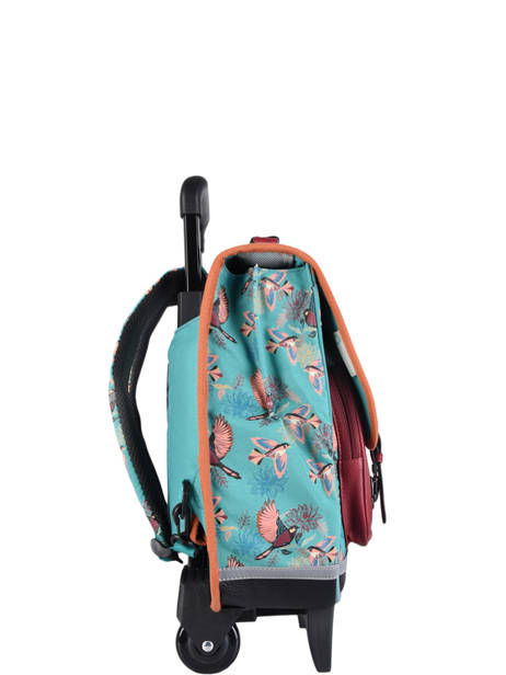 Wheeled Schoolbag For Girls 2 Compartments Cameleon Green vintage fantasy CR38 other view 4