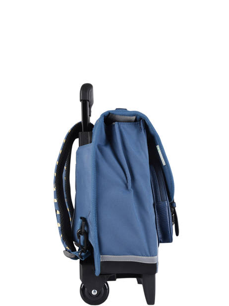 Wheeled Schoolbag For Girls 2 Compartments Cameleon Blue vintage fantasy CR38 other view 4