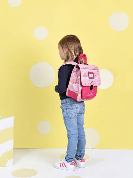 Backpack 1 Compartment Cameleon Pink retro SD30 other view 3