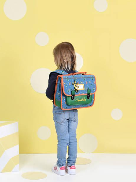 Cartable Enfant 1 Compartiment Cameleon Bleu retro CA32 vue secondaire 2