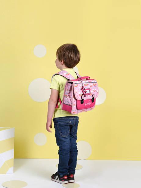 Cartable Enfant 1 Compartiment Cameleon Rose retro CA32 vue secondaire 2