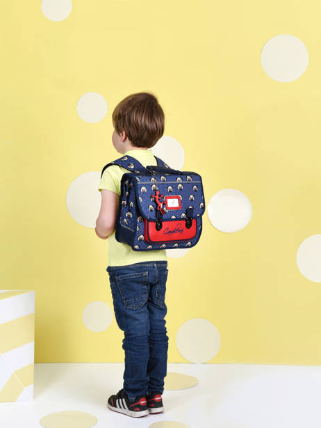 Satchel For Kids 1 Compartment Cameleon Blue retro CA32 other view 2