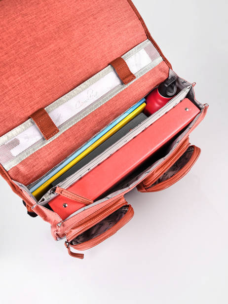 Satchel 2 Compartments Cameleon Red vintage color - VIC-CA35 other view 5