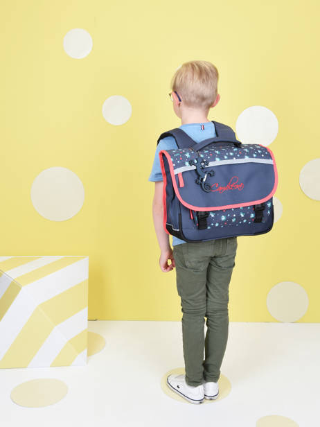 Satchel For Kids 2 Compartments Cameleon Blue actual BAS-CA35 other view 3