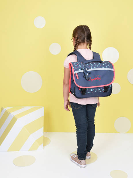 Satchel For Kids 2 Compartments Cameleon Blue actual BAS-CA35 other view 2
