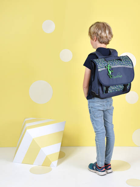 Satchel For Kids 2 Compartments Cameleon Blue actual CA38 other view 3