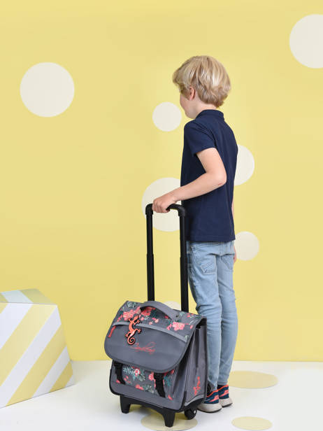 Wheeled Schoolbag For Kids 2 Compartments Cameleon Gray actual CR38 other view 3