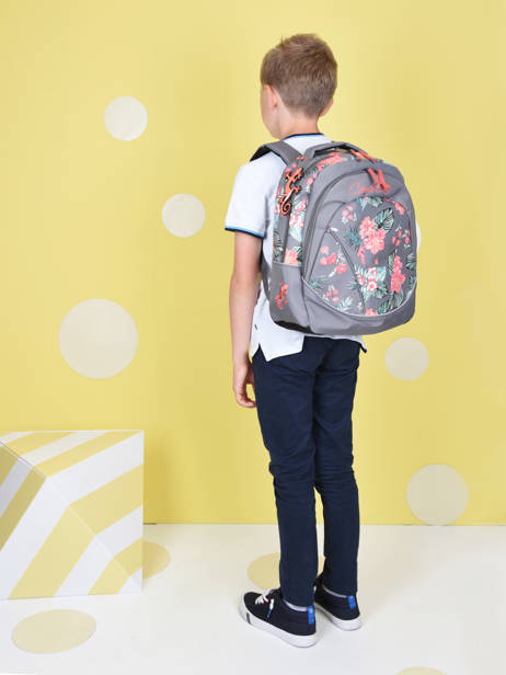 Backpack For Kids 2 Compartments Cameleon Gray actual SD43 other view 3