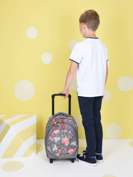 Wheeled Backpack For Kids 2 Compartments Cameleon Gray actual SR43 other view 2